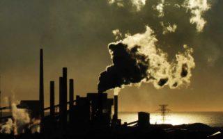 Smoke emits from steel works