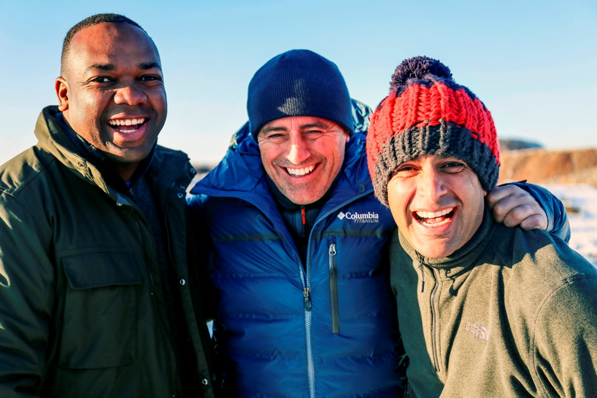 Matt LeBlanc (centre) with co-hosts Chris Harris (left) and Rory Reid (right). Photo: BBC