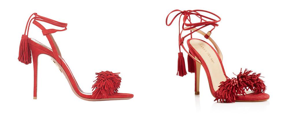 Aquazzura's Wild Thing shoe (left) looks remarkably similar to Ivanka Trump's Hettie shoe (right).