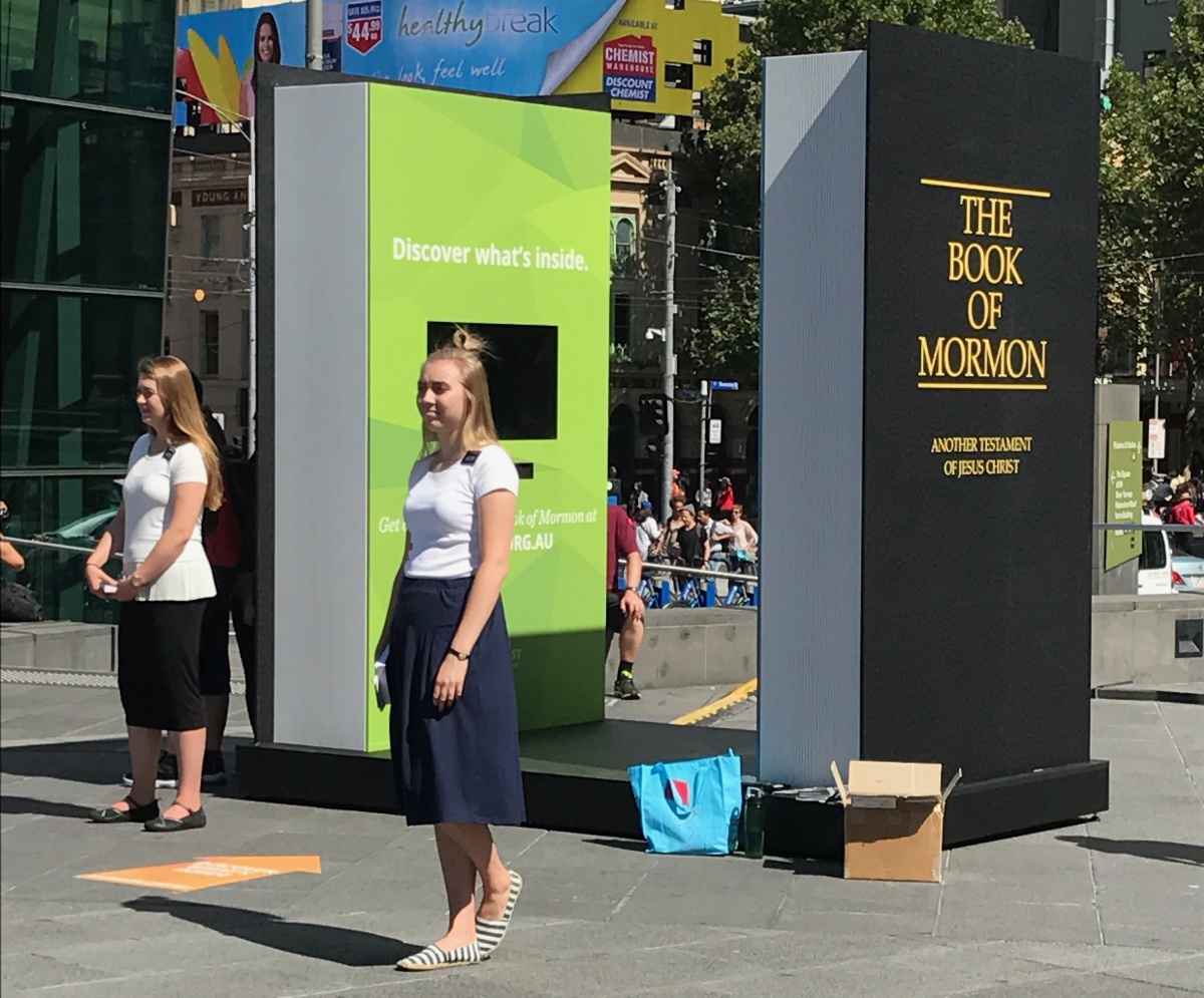 American Mormons spreading the word in Federation Square, Melbourne. Photo: Louise Talbot/The New Daily