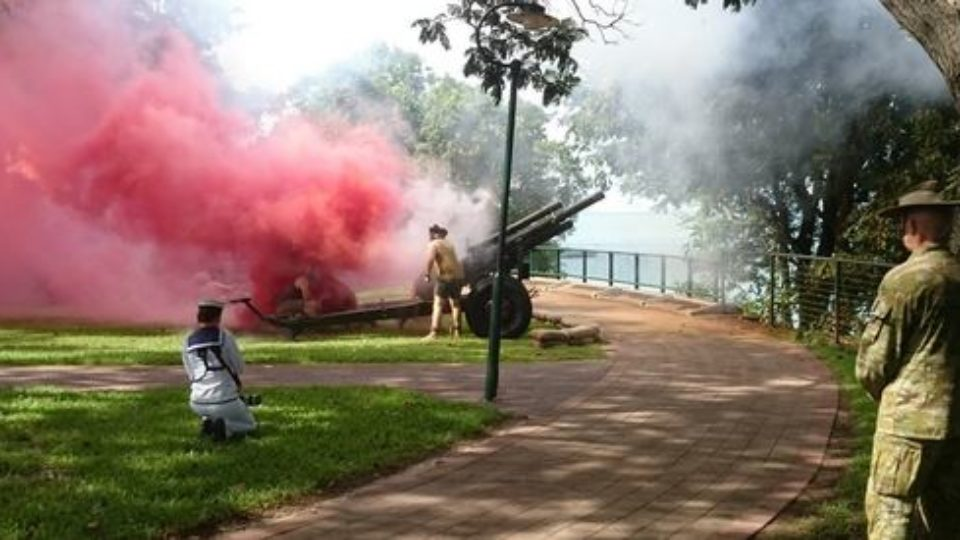 Darwin echoes to the thunder of artillery as the 75th anniversary of the Japanese attack is commemorated.