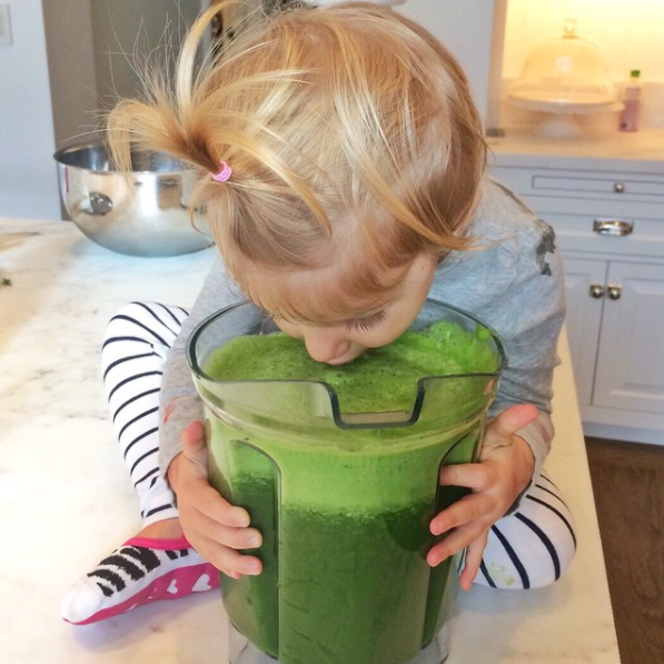 Bundchen and Brady's daughter Vivian enjoys a green juice. Photo: Instagram