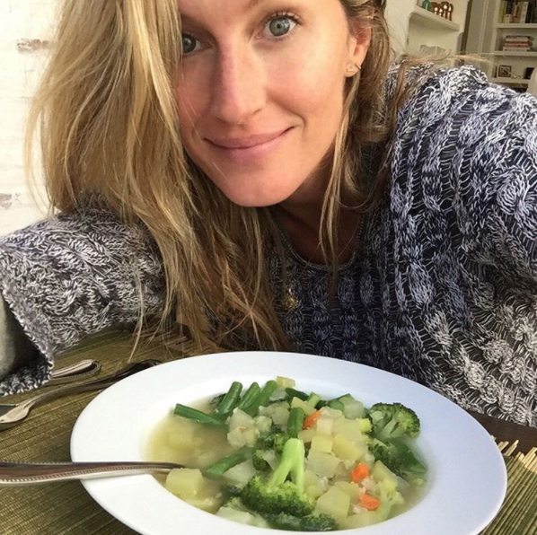 Gisele Bundchen and one of her staples: vegetable soup. Photo: Instagram