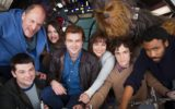 Clockwise from bottom left: co-director Christopher Miller, Woody Harrelson, Phoebe Waller-Bridge, Alden Ehrenreich, Emilia Clarke, Joonas Suotamo as Chewbacca, co-director Phil Lord, and Donald Glover.