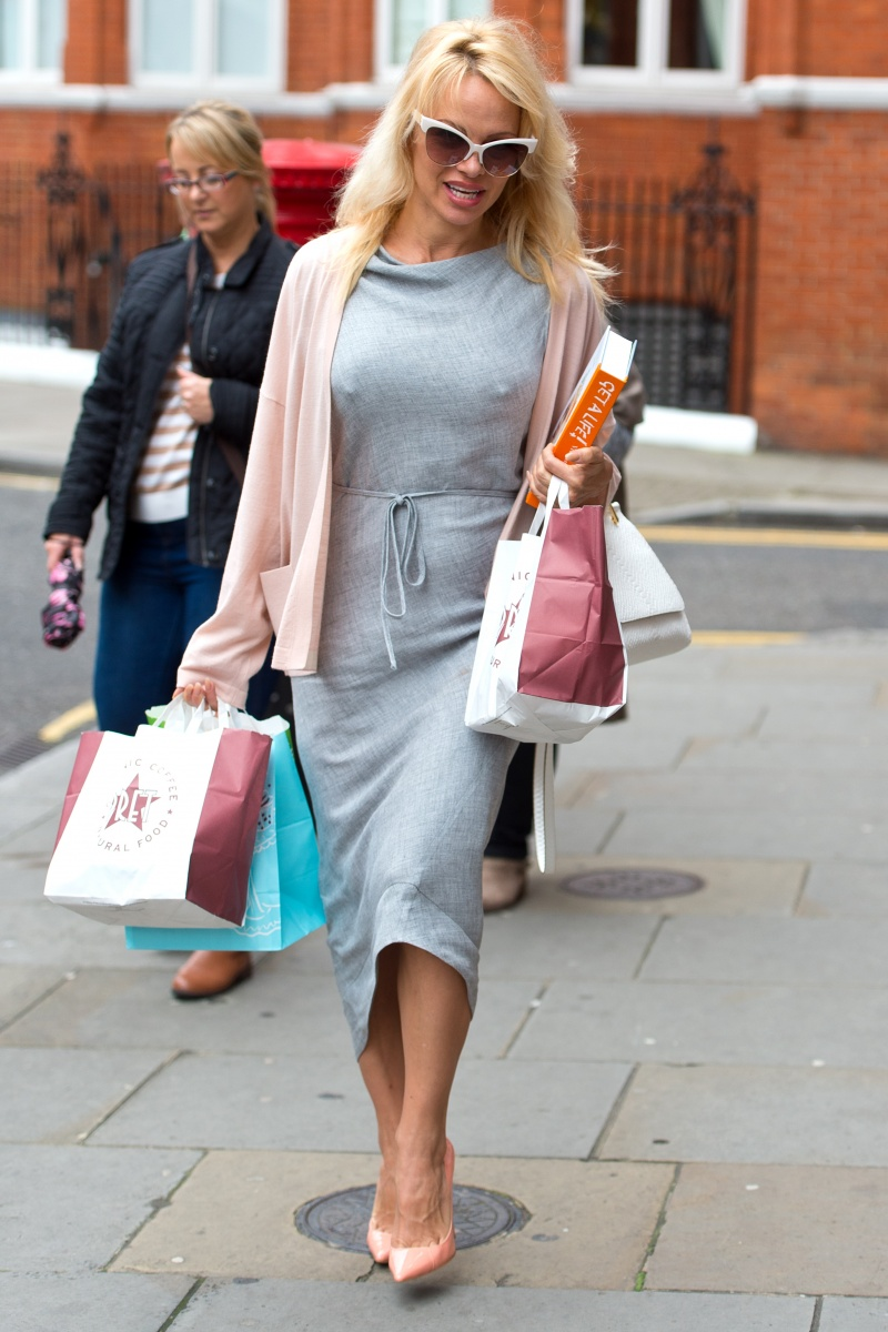 Pamela Anderson delivering food to Julian Assange in the Ecuadorian embassy in London in October 2016. Photo: Getty