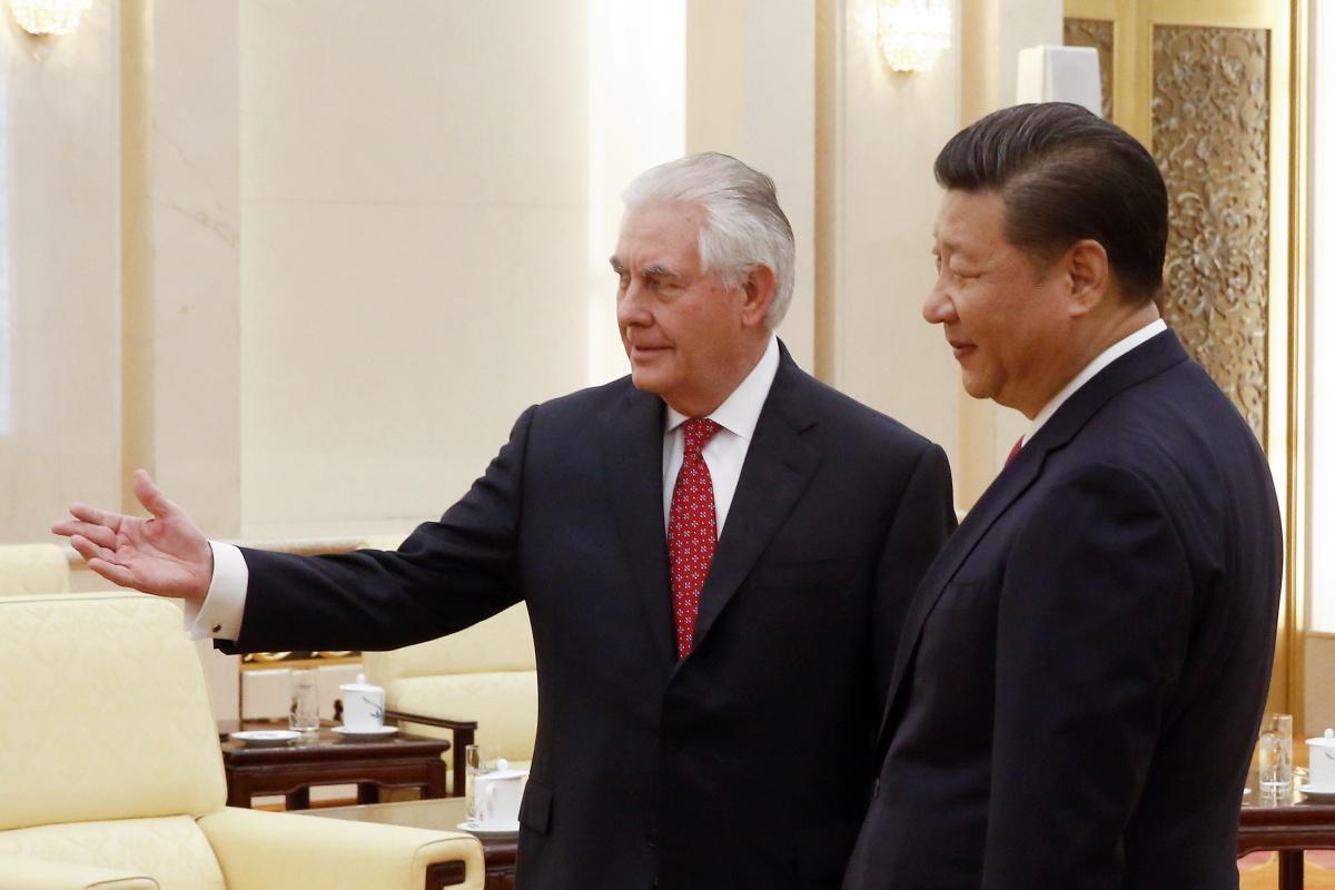 Rex Tillerson and President Xi Jinping