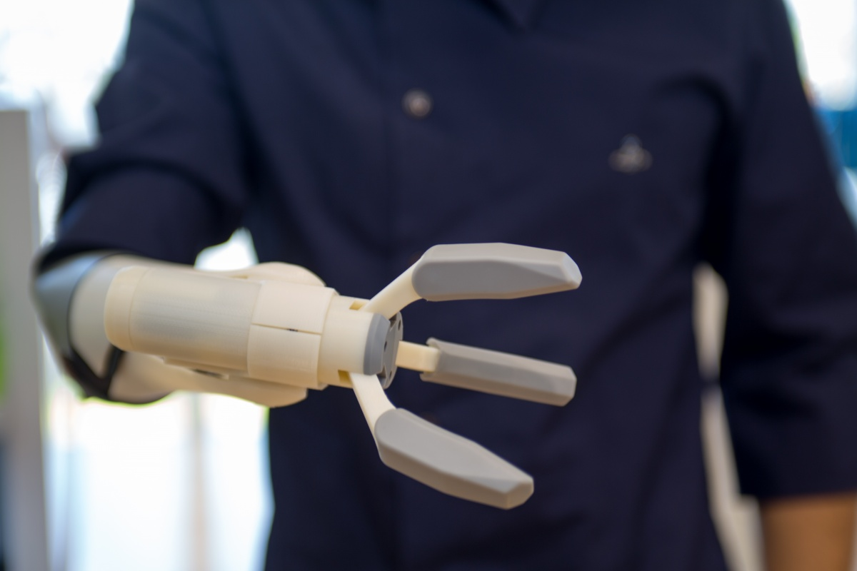A 3D printed prosthetic arm that can be mass produced, designed by a Japanese company. Photo: Getty