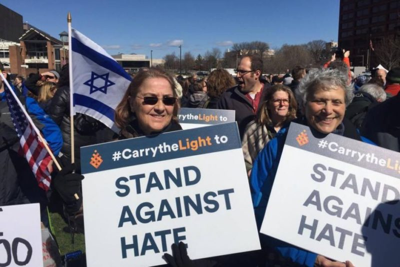 Anti-hate protesters at a rally in Philadelphia