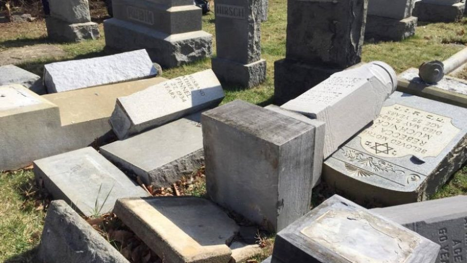 Damaged tombstones at Philadelphia's Mount Carmel Jewish cemetery