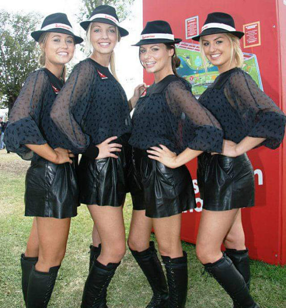 Chloe Cameron, second from the right, made many friends during her time working as a grid girl at the Grand Prix.