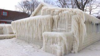 Ice house along Lake Ontario