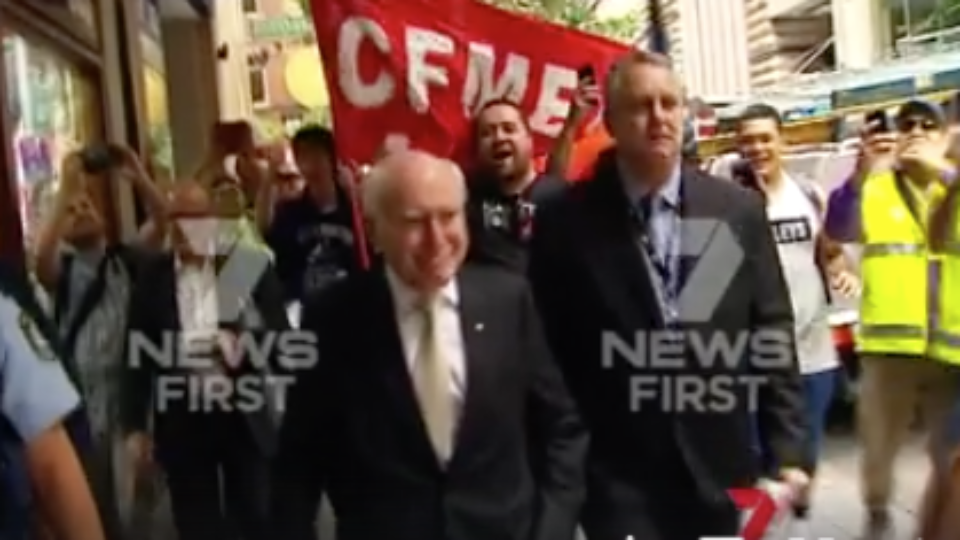 John Howard harrassed by union protesters