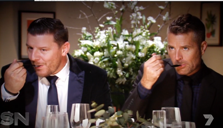 Pete Evans confirms he and co-host Manu are best mates, and he swallows all the food he tastes. Photo: Channel Seven