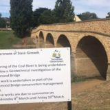 Sign notifying conservation works at Richmond Bridge