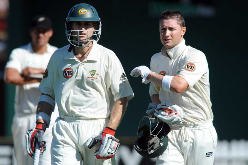 The VB logo is seen on the uniforms of Australia's Simon Katich and Michael Clarke.