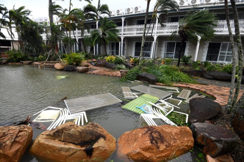 The destruction at a hotel in Airlie Beach. Photo: AAP.