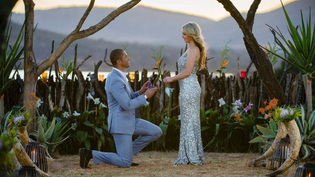 Season two Bachelor Blake Garvey proposes to Sam Frost, who went on to be the first Bachelorette.