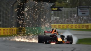 Sparks fly from Daniel Ricciardo's car during the qualifying session for the Formula One Australian Grand Prix.
