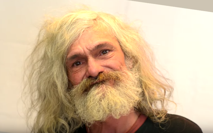 homeless man makeover