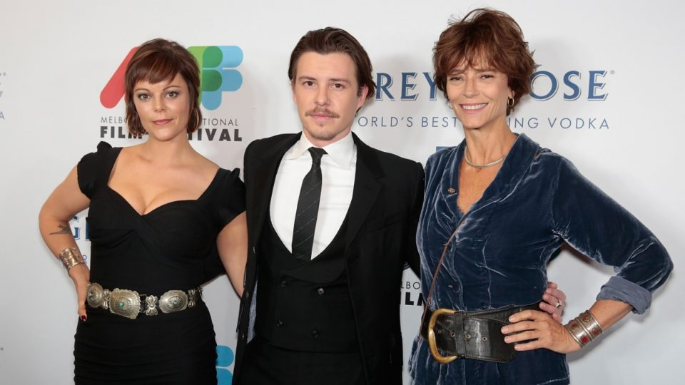 Rachel Ward (right) with her daughter Matilda Brown (left) and their co-star Xavier Samuel.