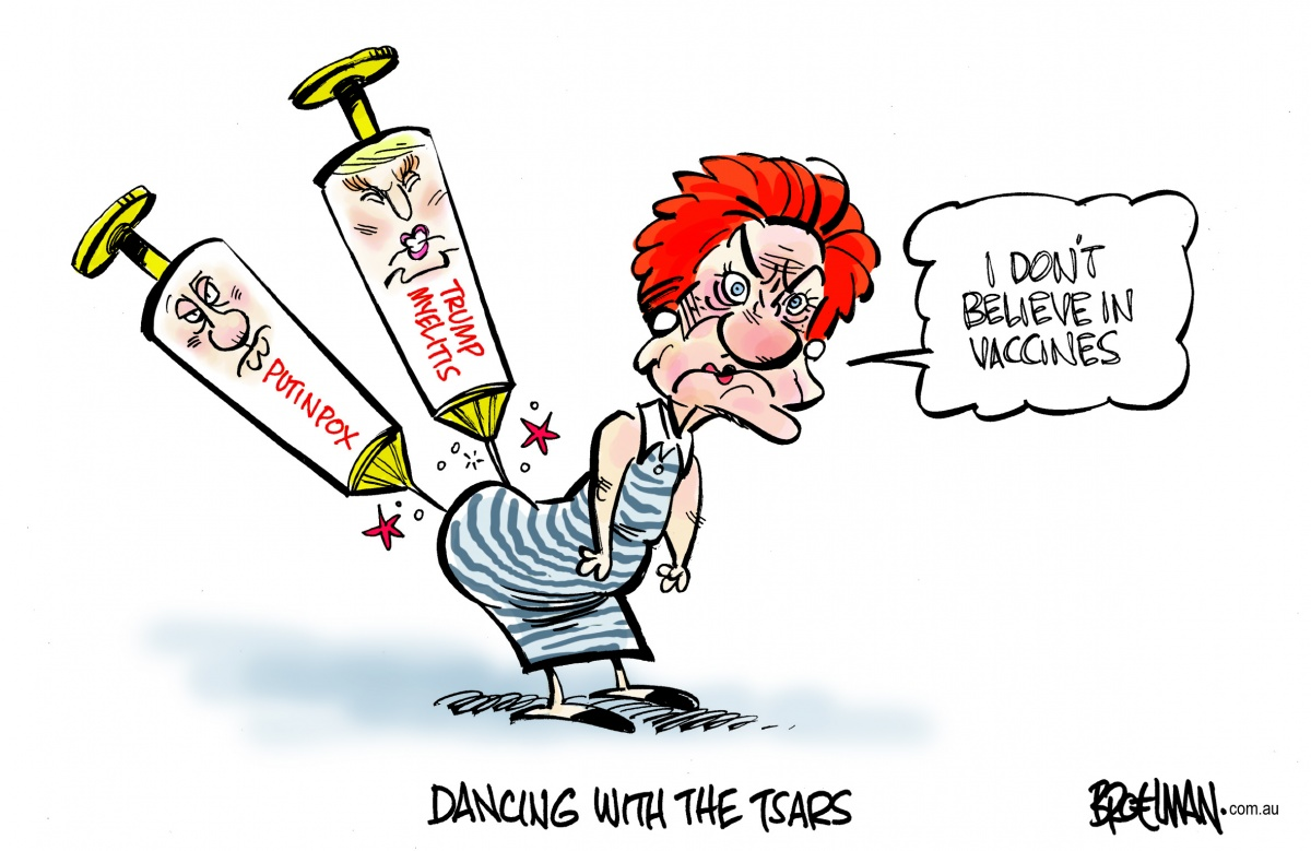 Pauline Hanson continues to align herself with the far-right. Cartoon: Peter Broelman