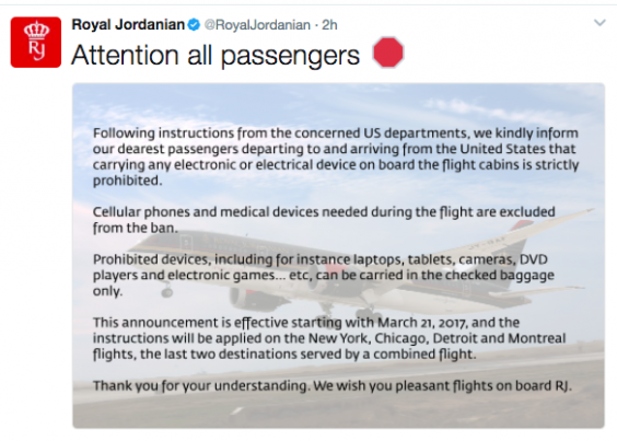 United Kingdom  follows US' lead, bans large electronics from certain flights