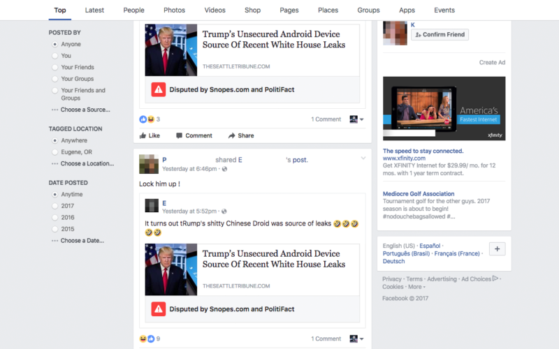 Facebook will add 'fake news' warning labels to disputed content.