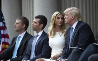 Eric Trump (far left) with brother Donald Trump Jr., sister Ivanka and US President Donald Trump.