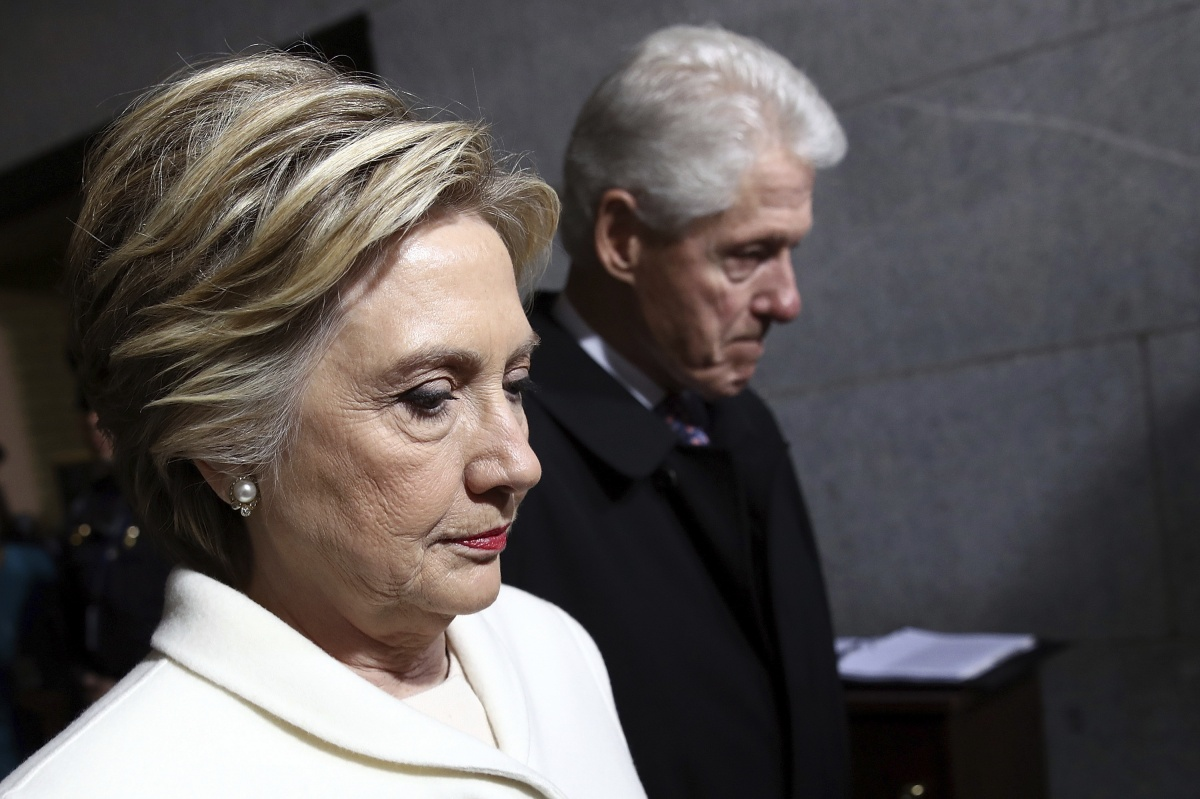 Former Senator Hillary Clinton and former President Bill Clinton at Donald Trump inauguration in January.