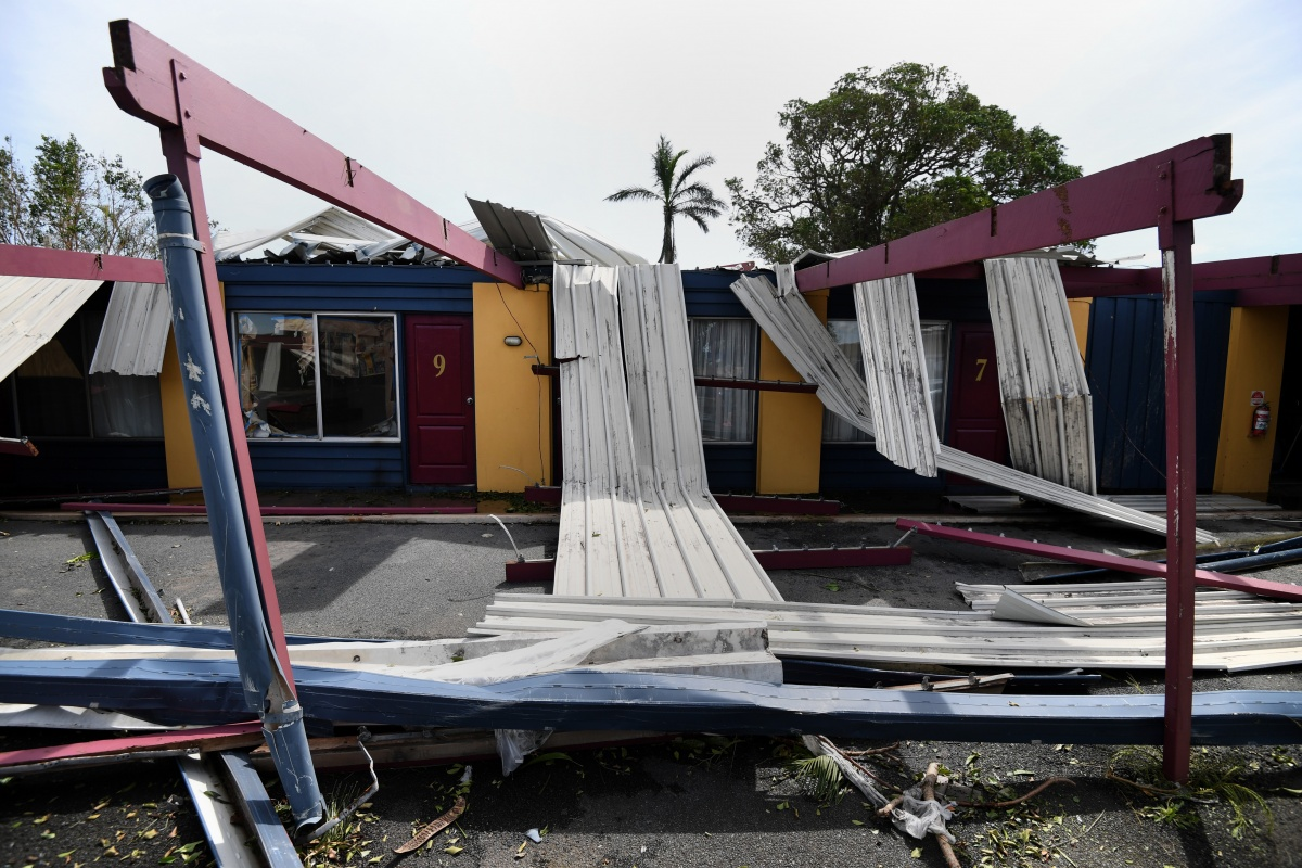 A damaged motel in Proserpine after Cyclone Debbie.
