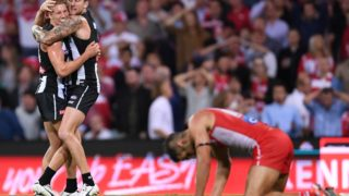 Playing his 250th game, Buddy Franklin kicked just three behinds despite almost setting up a win for his team.