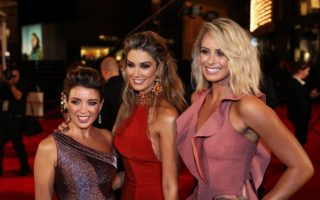 Dannii Minogue, Delta Goodrem and Sylvia Jeffreys all dolled up at Crown Casino in Melbourne.