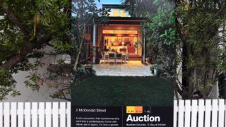 An auction sign is displayed in front of a house in Sydney. Photo: AAP