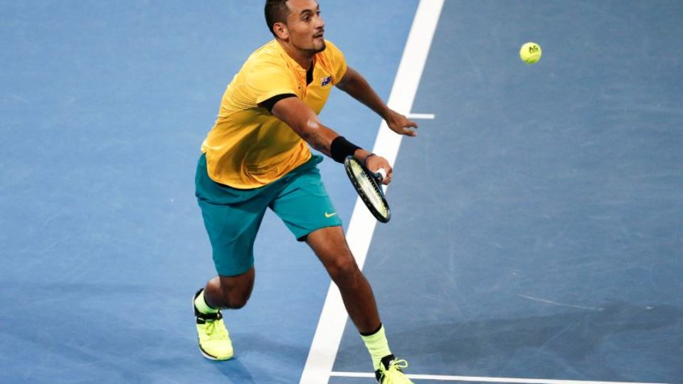 Nick Kyrgios in action against John Isner of the US yesterday in Brisbane.