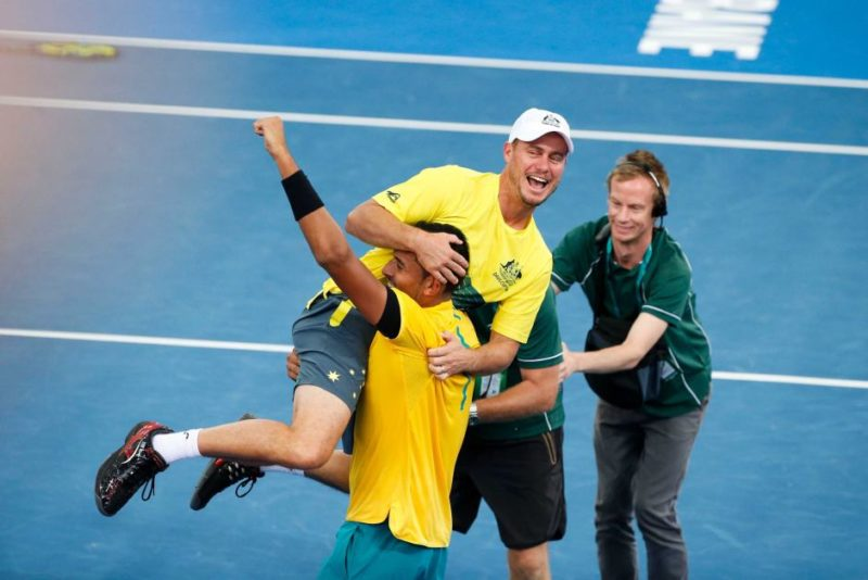 Lleyton Hewitt jumps on Nick Kyrgios at the Davis Cup