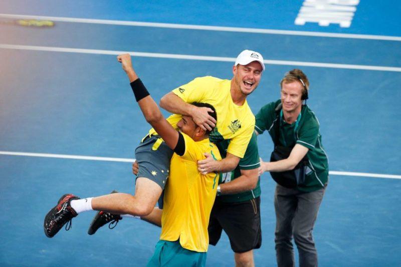 Lleyton Hewitt jumps on Nick Kyrgios at the Davis Cup