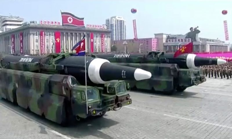 North Korea shows its strength as missiles are paraded.