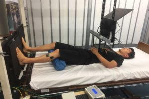 Participant taking part in UC's proprioception study