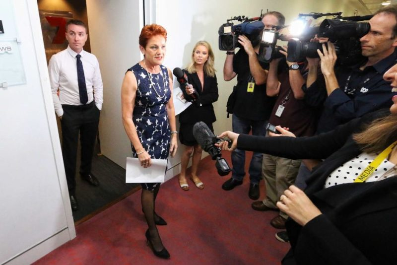 Pauline Hanson speaks to reporters