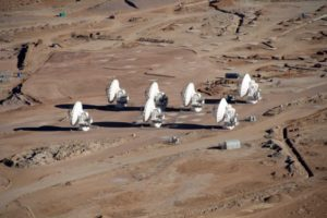 Seven of the 66 antennas at the Atacama Large Millimetre Array observatory in Chile