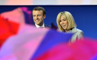 Leading candidate for the French presidency Emmanuel Macron with his wife, Brigitte Trogneux.