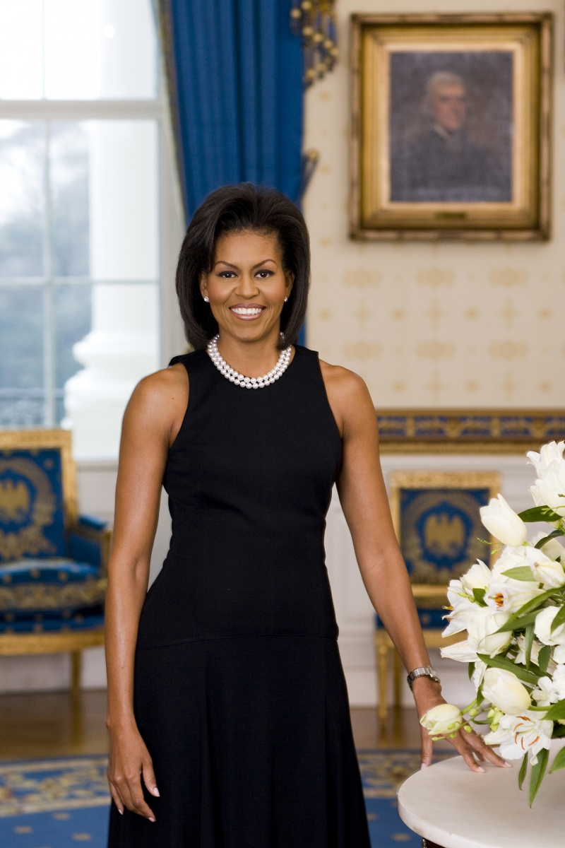 Michelle Obama's 2009 official portrait was scrutinised due to her choice of dress. Photo: Getty