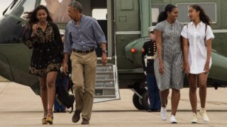From left: Sasha, Barack, Michelle and Malia Obama haven't been able to steer clear of the spotlight.