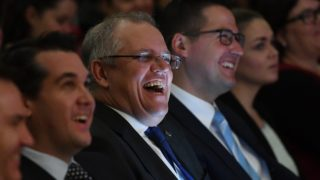 Scott Morrison has emerged from hiding with a smile on his face.