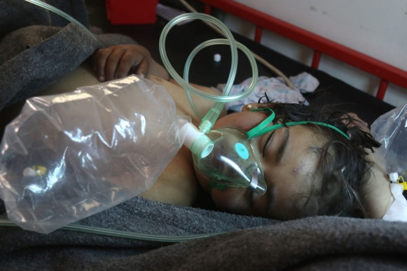 A young victim of the suspected toxic gas attack in Syria.
