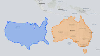 America (left) and Australia adjusted for distortions often seen on maps.