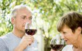 senior red wine couple