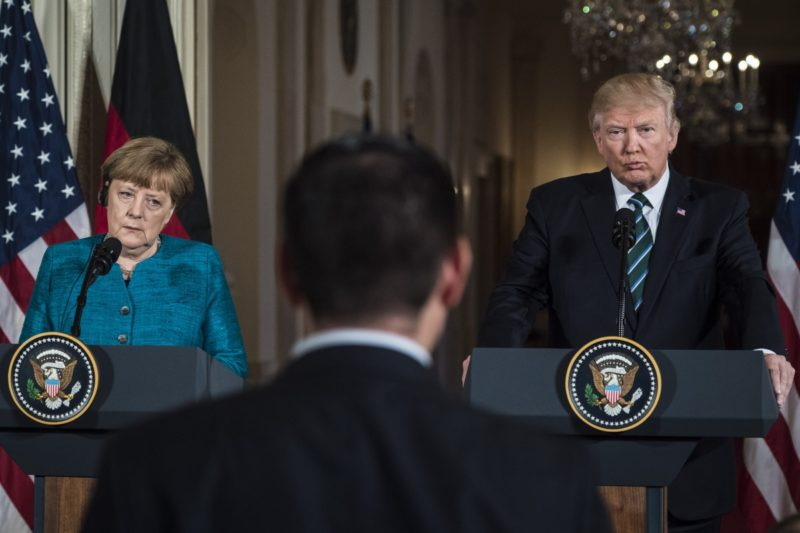 German Chancellor Angela Merkel made it clear she did not want to be on stage with the US President.