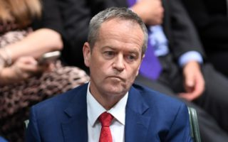 Bill Shorten is pictured in Question Time in the House of Representatives on Tuesday