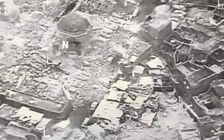 An aerial image of the destroyed remains of the Great Mosque of al-Nuri in Western Mosul, Iraq